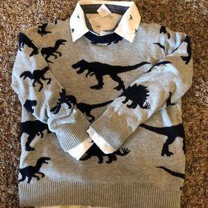 Boys dinosaur sweater & matching button down shirt